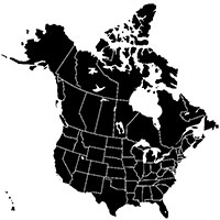 Map of the USA and Canada